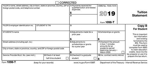 sample of IRS 1098-T tax form