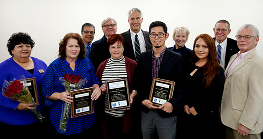 Photo of Board of Trustees, Chancellor, 2018 Classified Employee of the Year Finalists