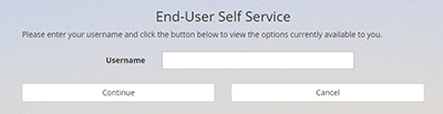 "portal account self-service page showing the ""Username"" field"