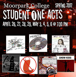 image of flyer for Student One Acts, Spring 2017
