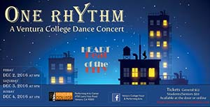 image of flyer for One Rhythm, A Ventura College Dance Concert