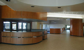 Photo of another interior view of remodeled Student Services Building