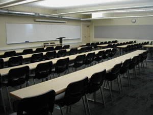 Photo of interior of classroom in F building