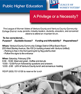 VCCCD and the League of Women Voters to Co-Sponsor forum on college readiness and affordability