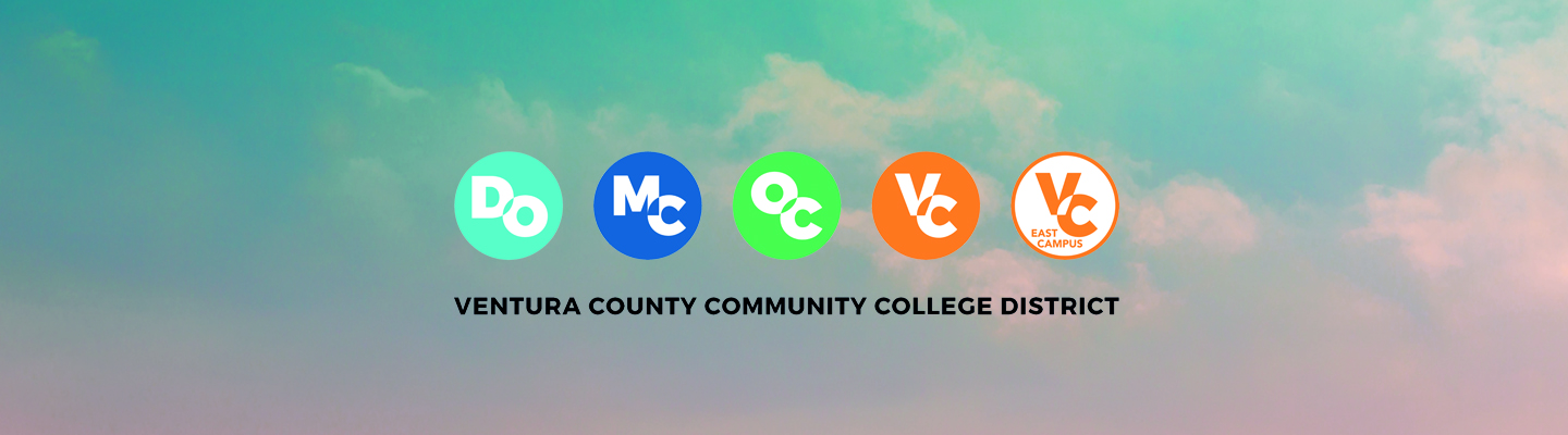 sky with clouds and district office logo, moorpark college logo, oxnard college logo, ventura college logo, ventura college east campus logo