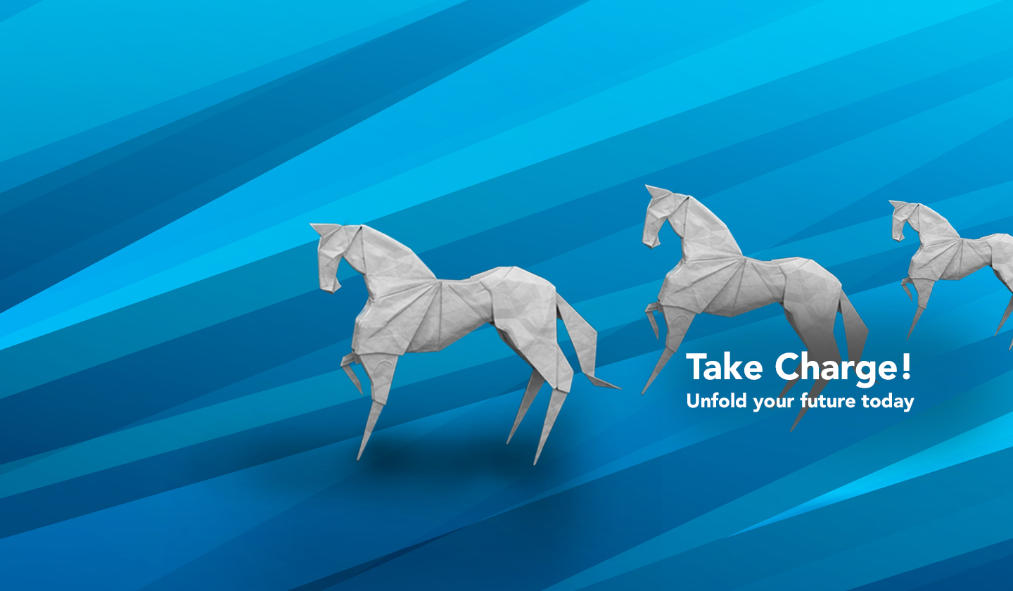 Graphic of Origami Horses with text that reads Take Charge! Unfold your future today.