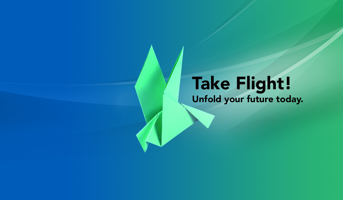 Graphic of an origami condor with text that reads Take Flight! Unfold your future today.