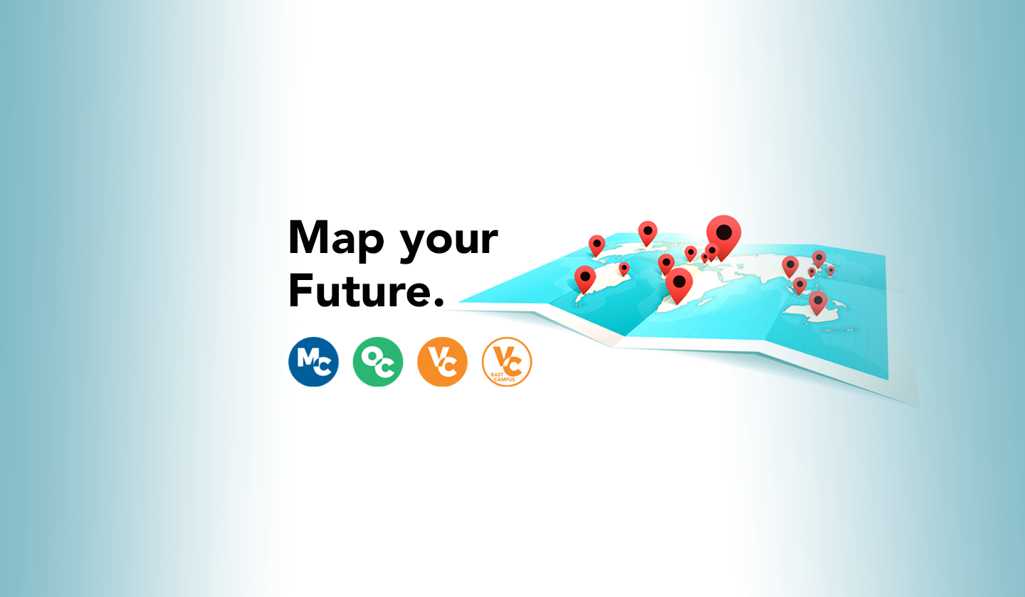 Graphic of a map with pins and circle logos for the colleges with text that reads Map Your Future.