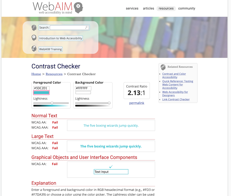 Screenshot of WebAIM with a bad contrast.