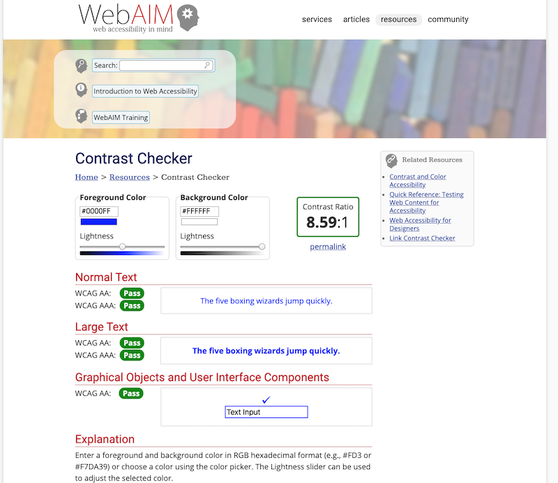 Screenshot of WebAIM with a good contrast.