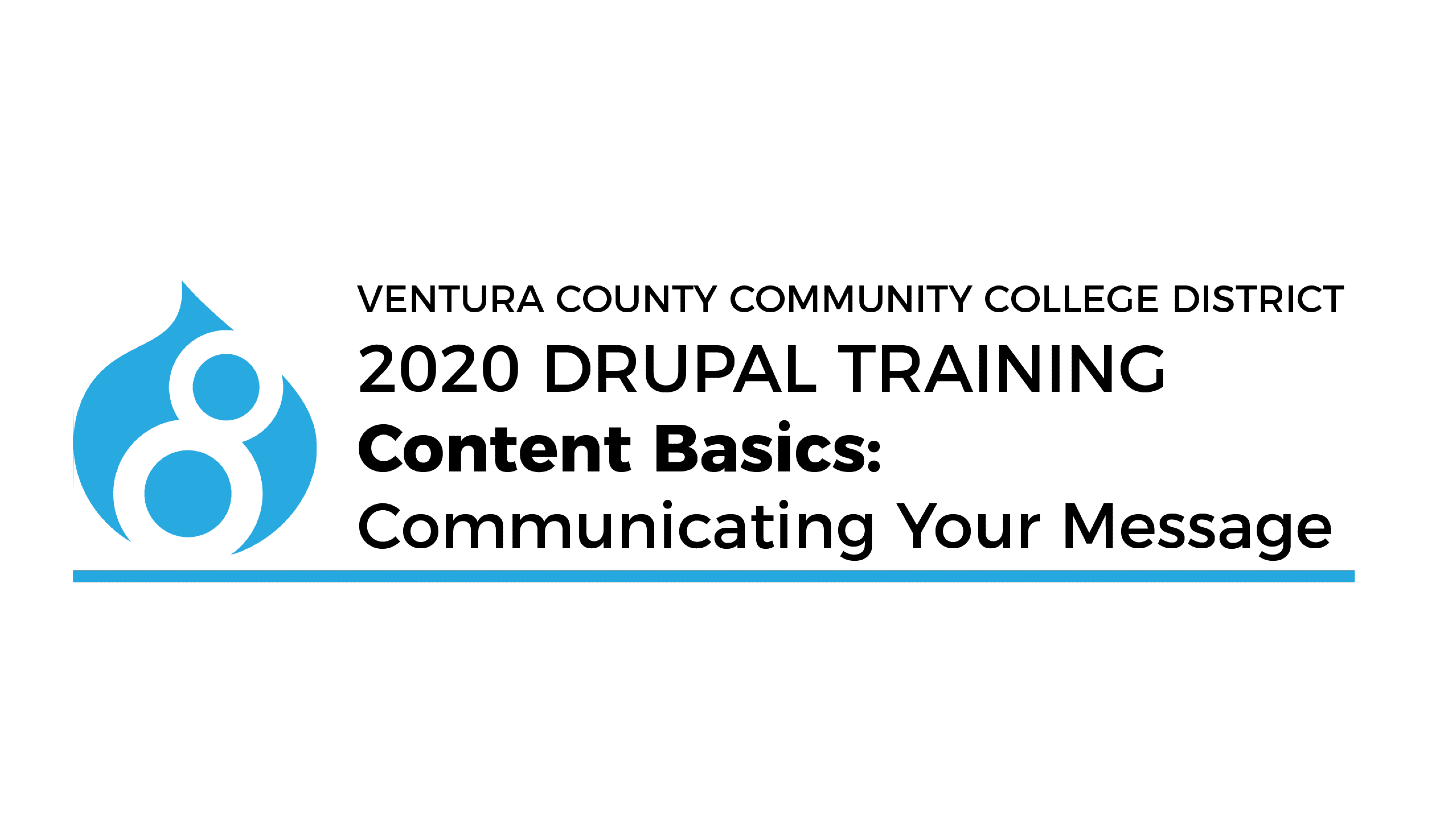 2020 drupal training content basics communicating your message