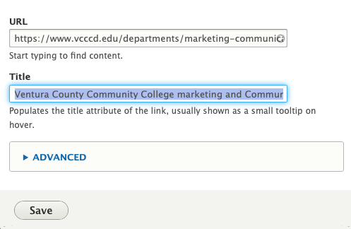 Drupal Link Screenshot, The Url is filled with a webpage and the Title field has context filled in.
