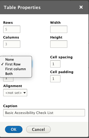 Drupal Table Properties, showing the Headers menu expanded, with options of None, First Row, First Column and Both