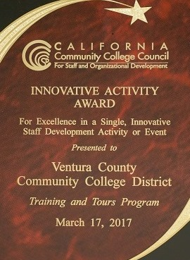 Award presented by California Community College Council for Training and Tours Program dated March 17 2017