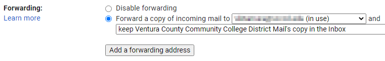 Completed settings for student email forwarding