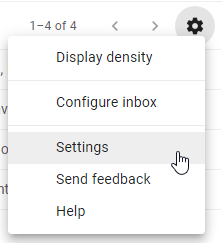 Settings icon for student email