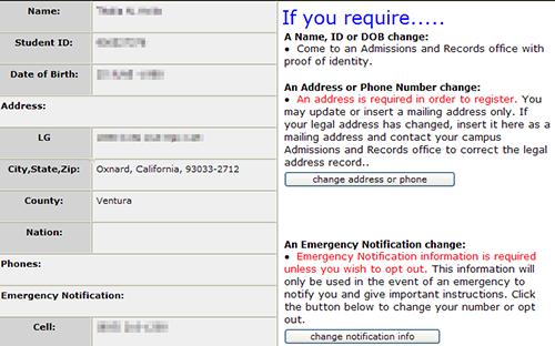 Contact information update screen