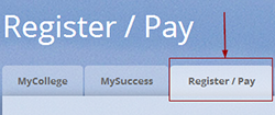 Portal Register/Pay tab.