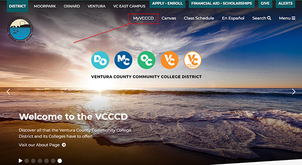 MyVCCCD link at the district or college websites
