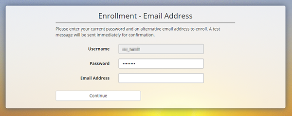 Enrollment Password Recovery Email Address