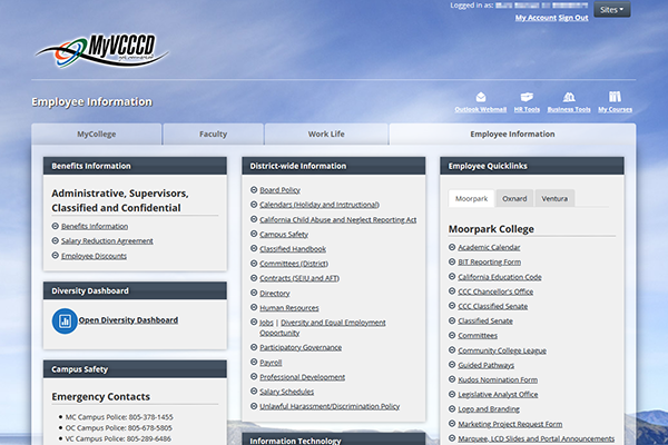 MyVCCCD Employee Screen