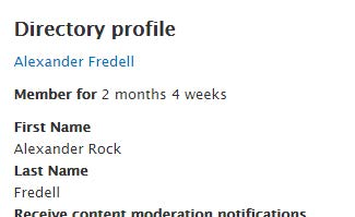 "Screenshot of Drupal User Page, users would click on the hyperlink of their name under the heading ""Directory Profile"""
