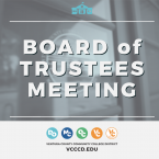 Photo of the door to the Board Room featuring the VCCCD Logo. Five circle logos for each college and location at the bottom. Text that reads Board of Trustees Meeting Ventura County Community College District VCCCD.edu