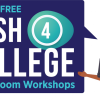 Illustration of a person with text that reads: Join the FREE Cash 4 College Zoom Workshops