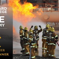 Fire Academy Students Extinguishing Flames, the Oxnard College Logo and text that reads: Fire Academy BCC Vellwether Award Winner