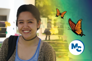 Photo of a Student with Butterflies and the MC Icon