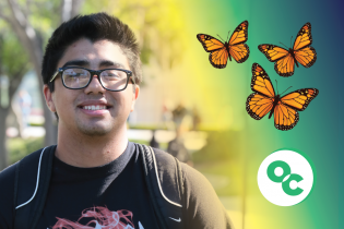 Photo of a student with butterflies and the OC Icon