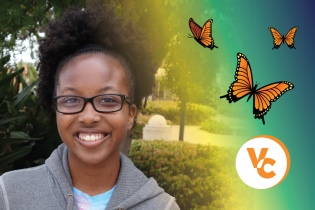Photo of a Student with butterflies and the VC Icon
