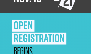 Graphic with text that reads: Nov 19 Open Registration Begins Spring 2021