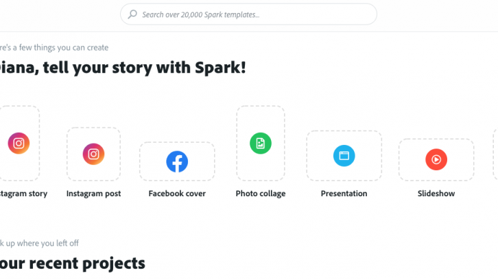 Adobe Spark landing page with Custom Size highlighted