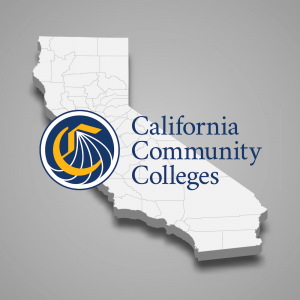 3D map of the state of California with the California Community Colleges logo overlayed.